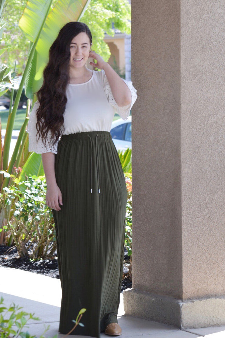 Reese Pleated Olive Maxi Skirt