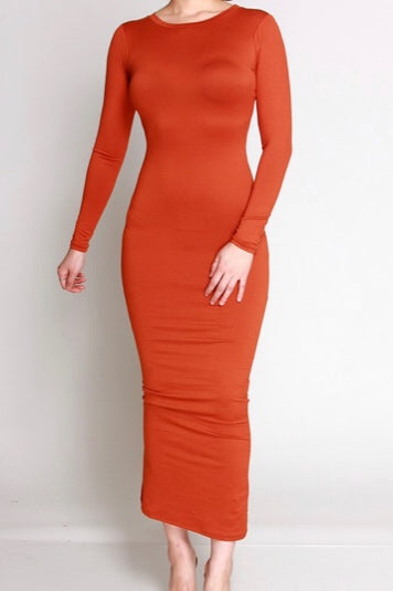 Phoebe Rust Pencil Dress