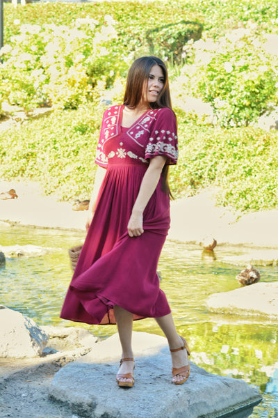 Joy Merlot Embroidered Dress