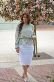 Justine White Denim Skirt