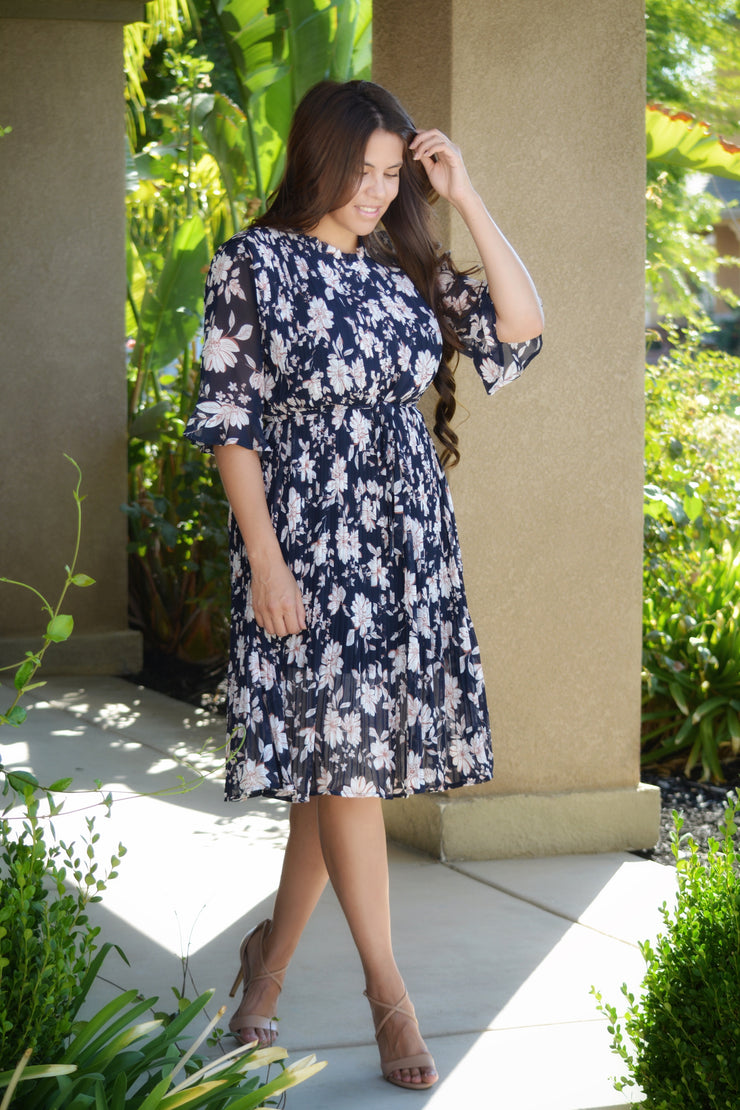 Ally Navy Floral Dress