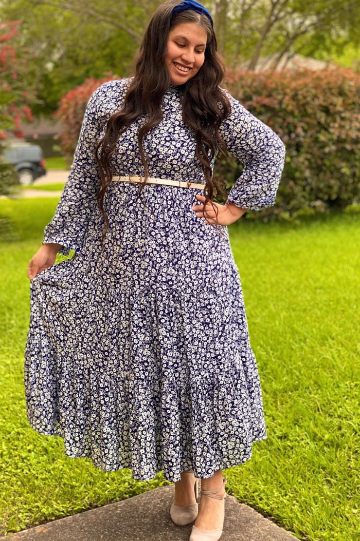 Mabel Navy Small Floral Dress