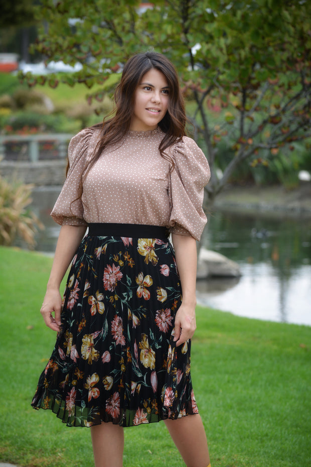 Cami Black Fall Floral Skirt