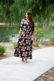 Dalia Black FloralFaux Wrap Dress