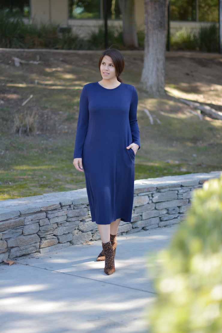 Sunday Stroll Long Sleeve Navy Dress