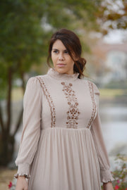 Eliana Tan Embroidered Dress