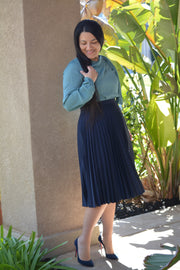 Jasmine Navy Pleated Skirt