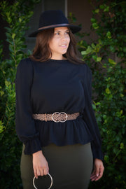 Suzette Black Peplum Top