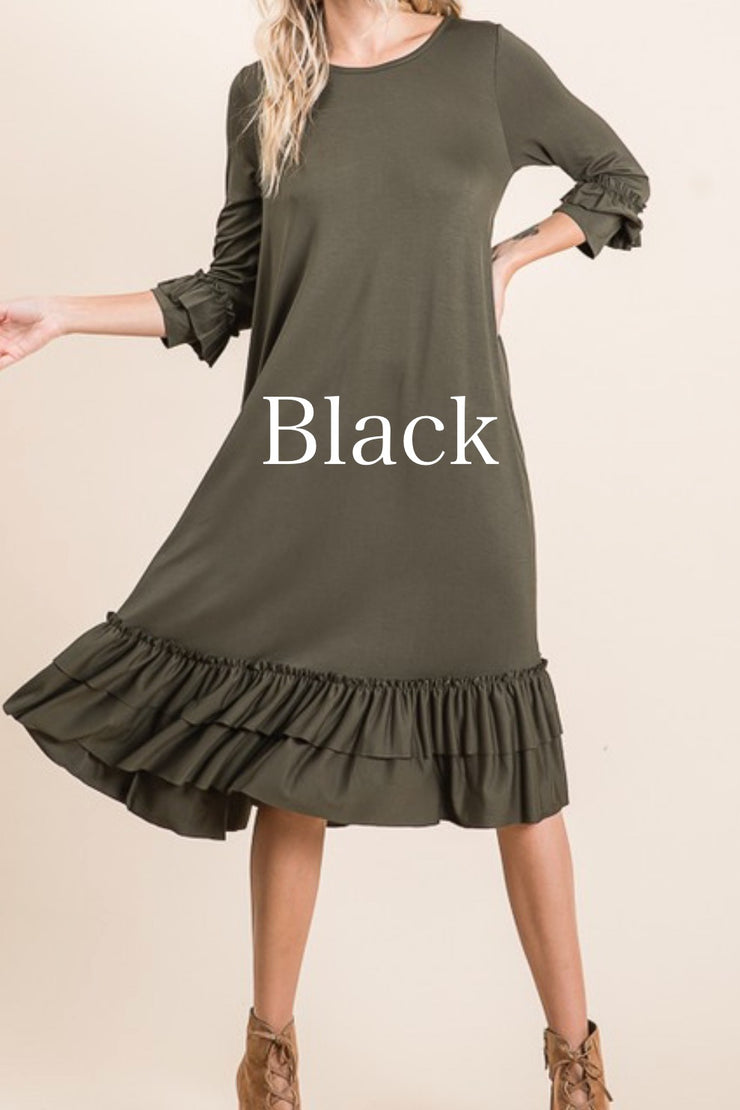 Aggie Black Swing Ruffle Dress