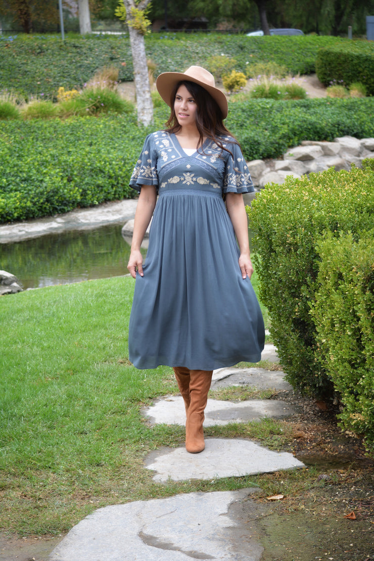 Joy Slate Blue Embroidered Dress