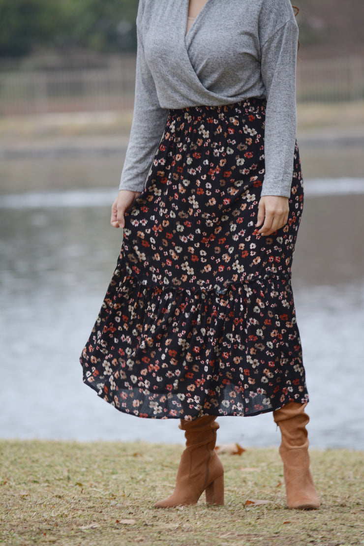 Belinda Black Floral Skirt