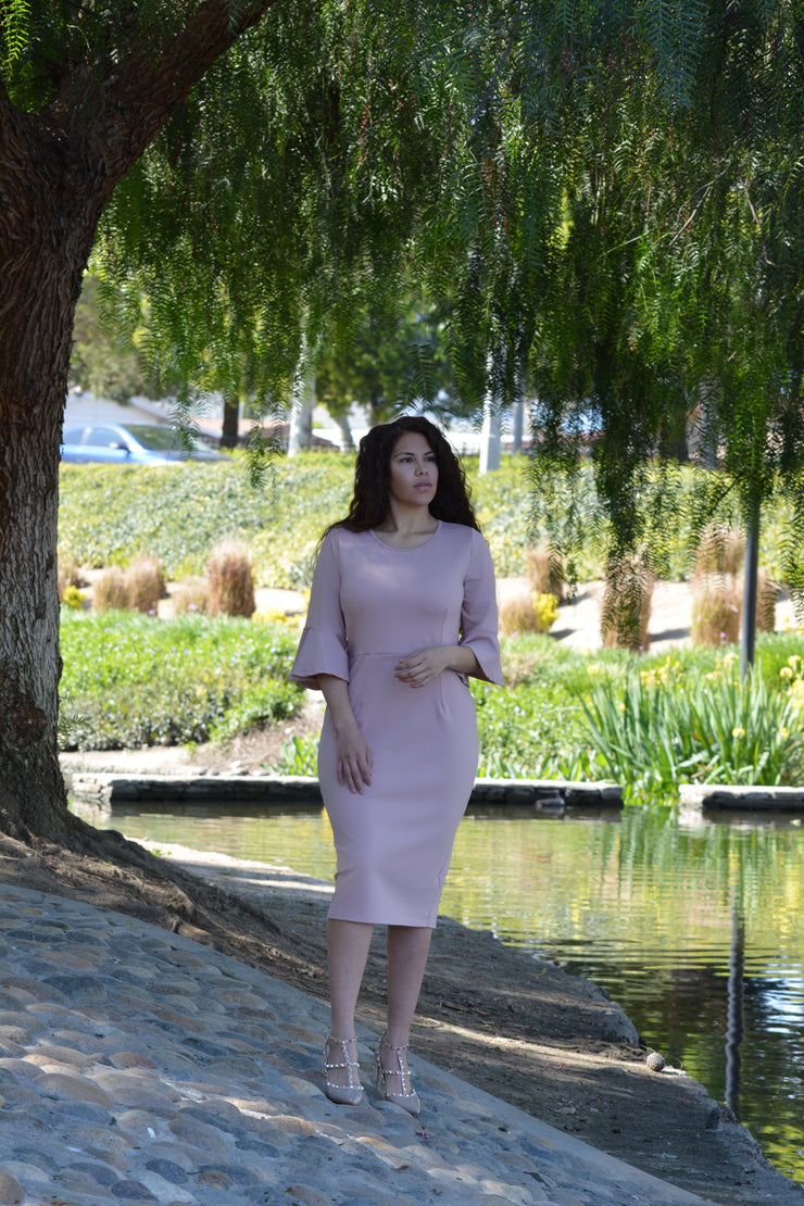 Lucca  Pink Bellsleeve Dress