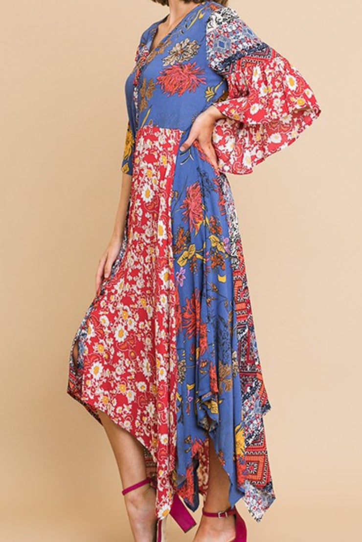 New Aria Red Floral Boho Dress