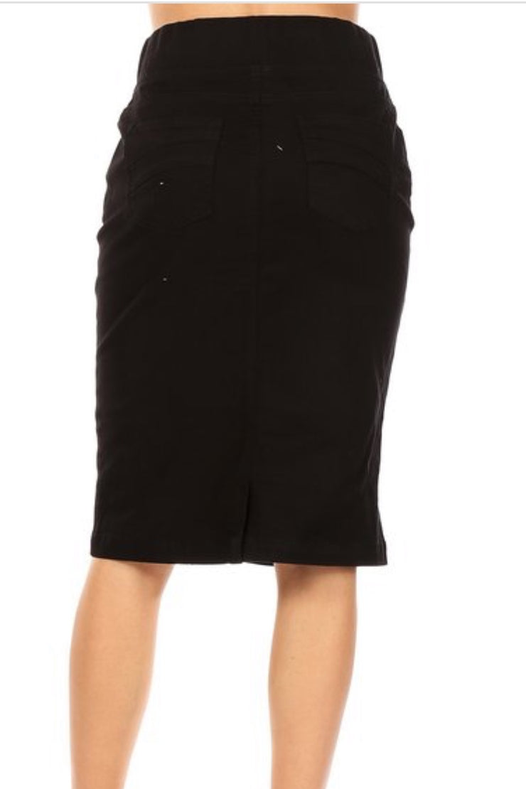 Justine Black Denim Skirt