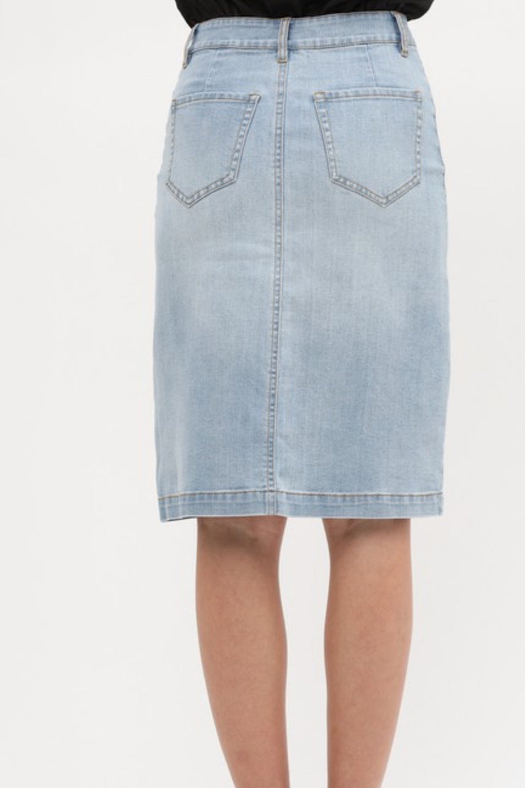 Maddy Light Wash Denim Skirt