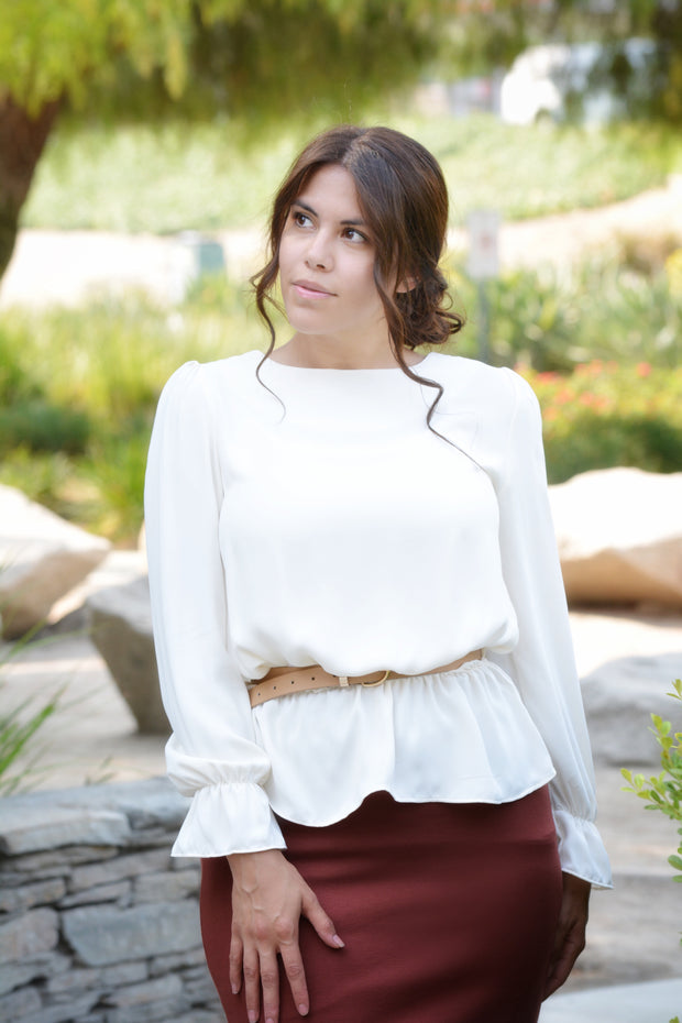 Suzette Cream Peplum Top
