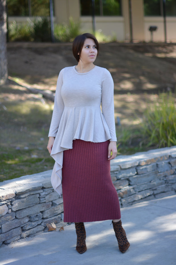 Dress It Up Ribbed Pencil Skirt
