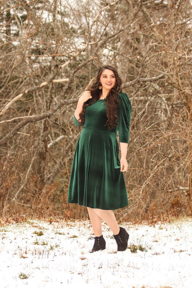 Capri Emerald Velvet Puff Sleeve Dress