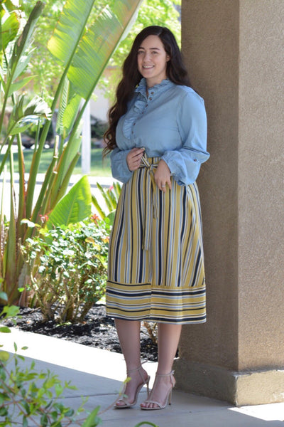 Monroe Striped Wrap Midi Skirt