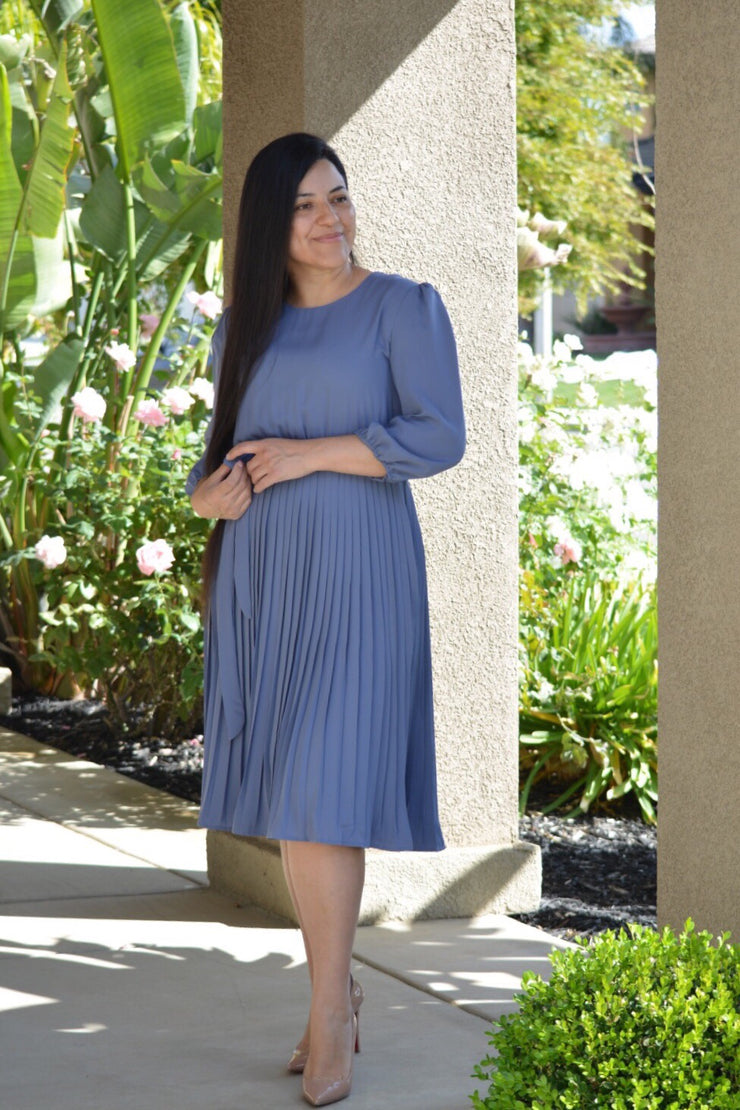 Sofia Blue Pleated Dress