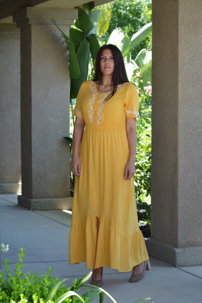 Clarissa Mustard Yellow Embroidered Maxi Dress