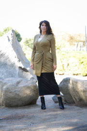 Nadia Light Olive Green Wrap Cardigan