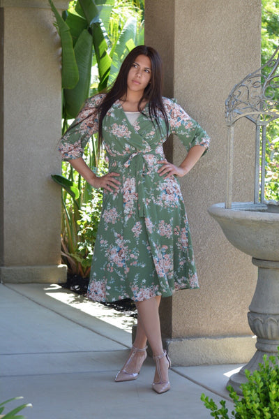Belinda Green Floral Faux Wrap Dress