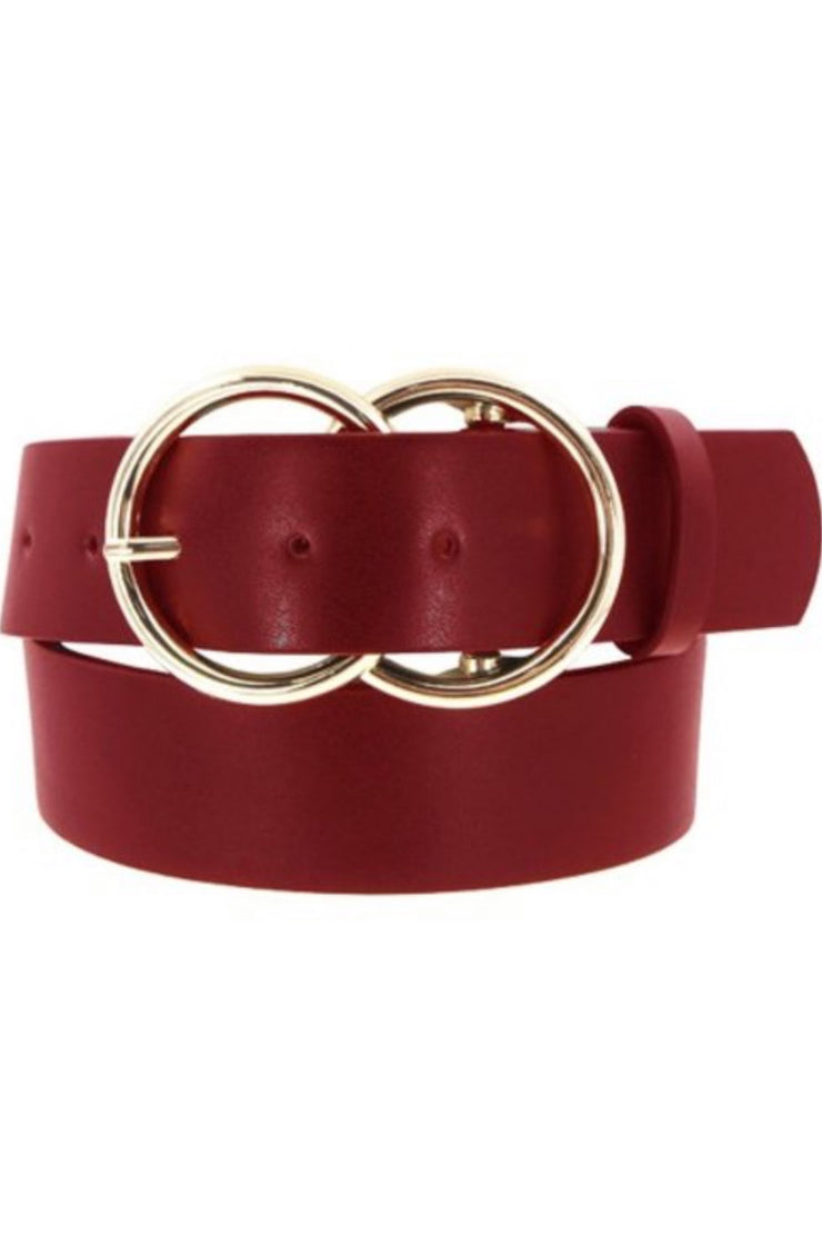 Eva Red Belt (gold buckle)