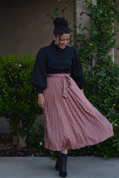 Jenna Pink Polkadot Pleated Skirt