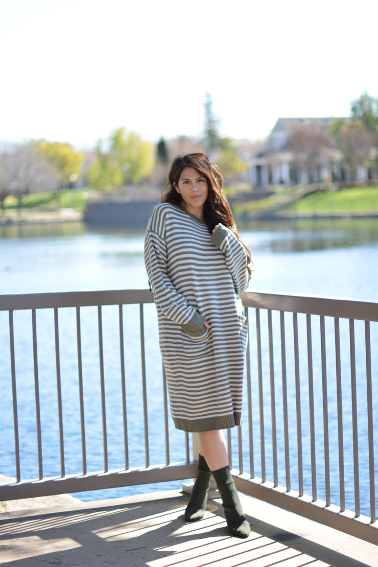 Mikayla Olive Stripe Sweater Dress