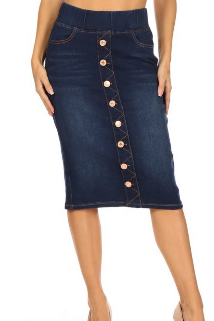 Justine Dark Denim Faux Buttoned Skirt