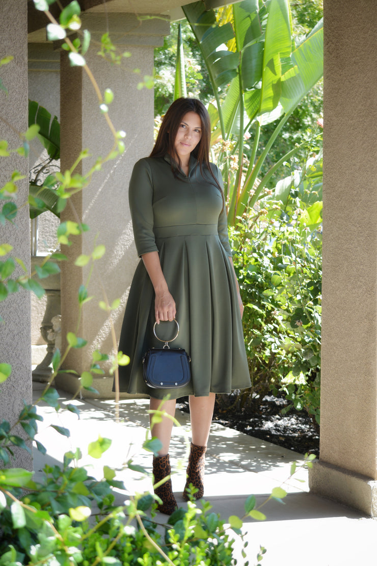 Santorini Olive Green Dress