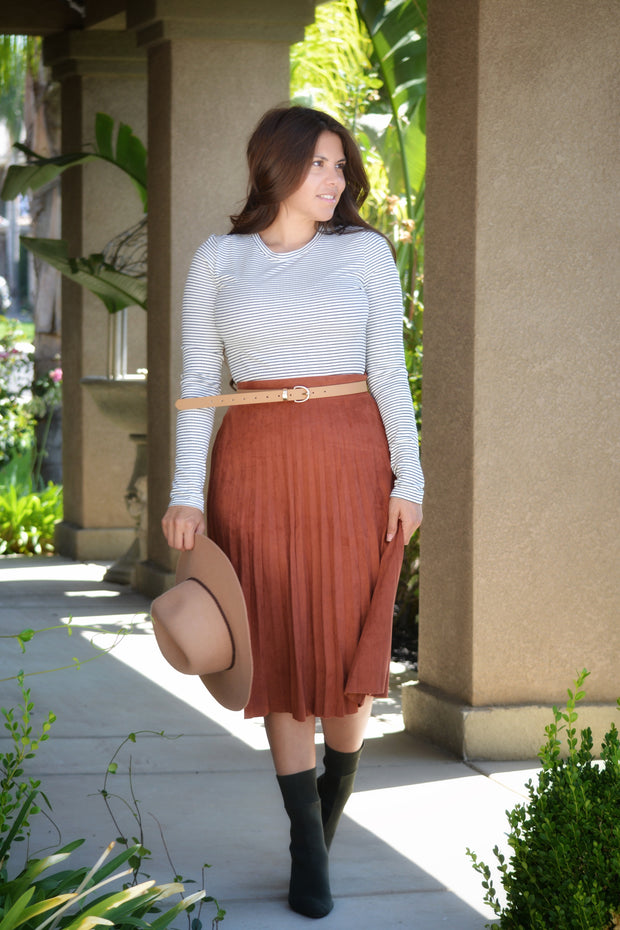 Micaela Rust Faux Suede Skirt