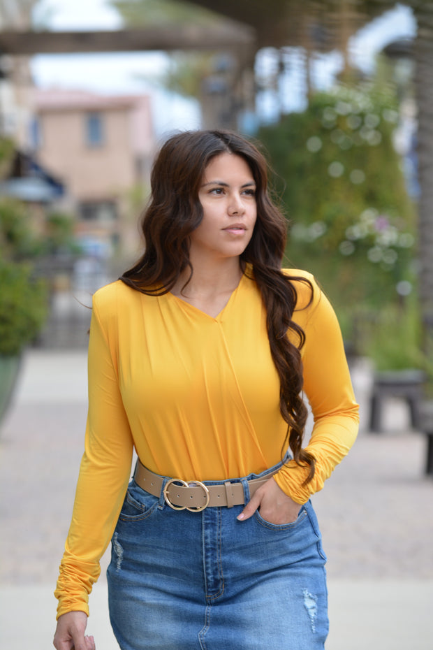 Maribel Mustard Faux Wrap Top