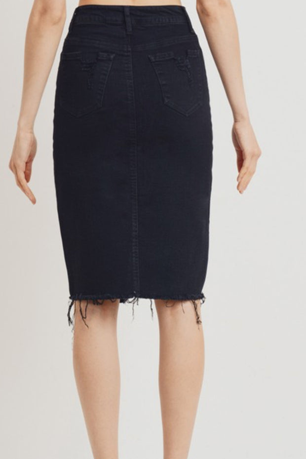 Ida Black Denim Distressed Skirt