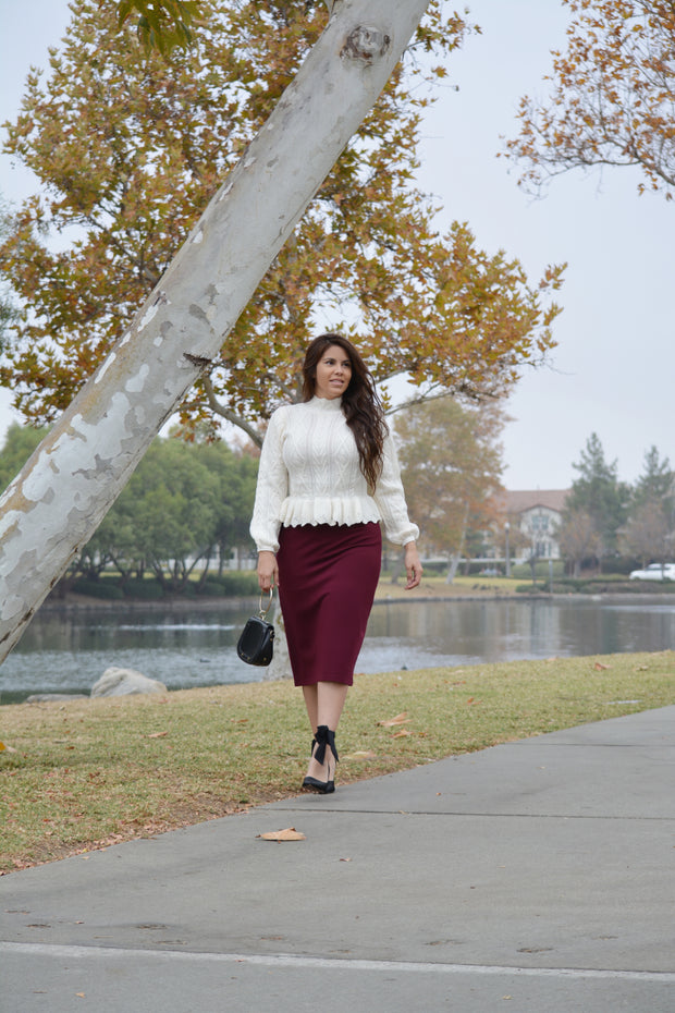 Amalie Cable Knit Peplum