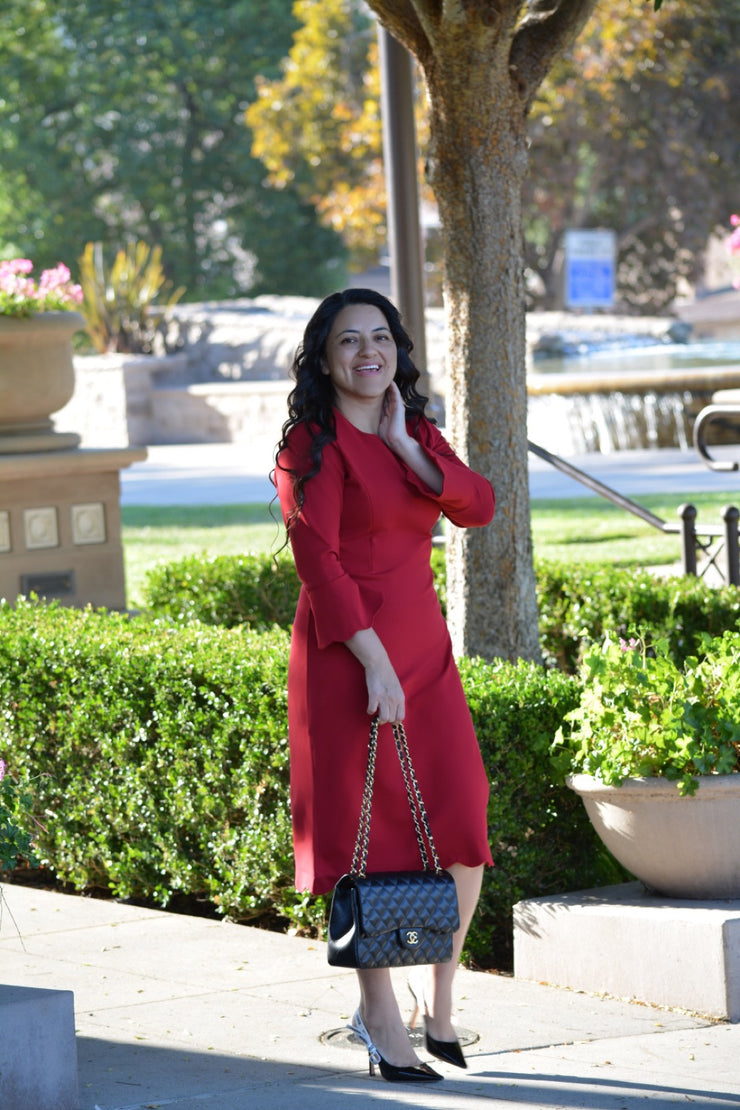 Lille Red Scalloped Dress