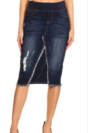 Justine Dark Distressed Denim Skirt