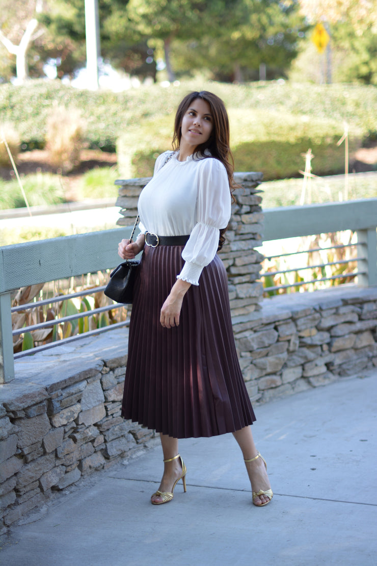 Plum Pretty Faux Leather Pleated Skirt