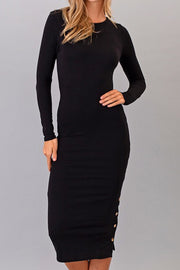 Vanessa Solid Black Midi Dress