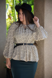 Georgia Taupe Dash Peplum Top