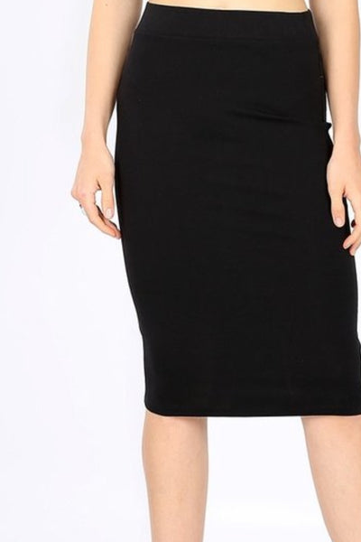 Penny Cotton Black Pencil Skirt