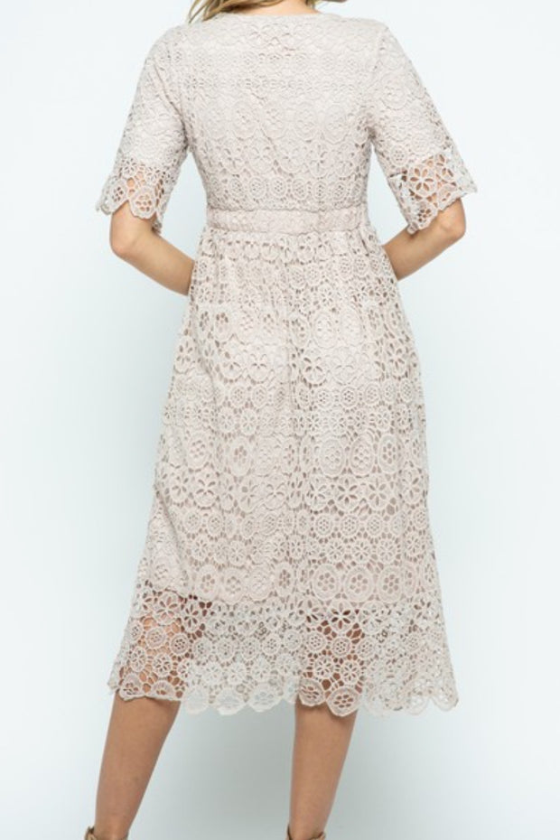 Hope Taupe  Lace Dress