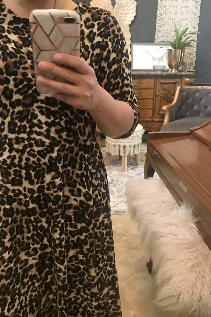 Millie Leopard Full Midi Dress With Sharkbite Hem