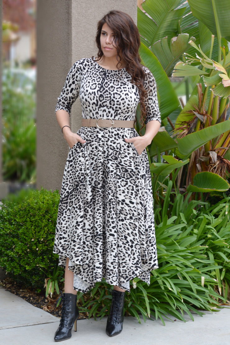 New Millie Leopard Full Midi Dress