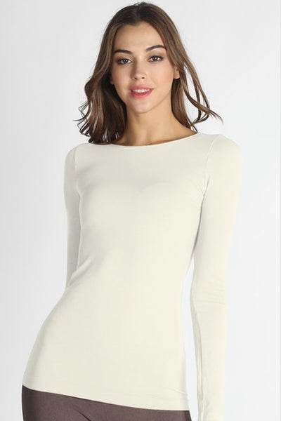 Chelsea Long Sleeve Ivory Seamless Top