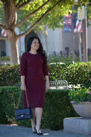 Athens Burgundy (Black Piping) Dress