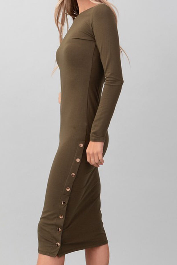Vanessa Solid Olive Midi Dress