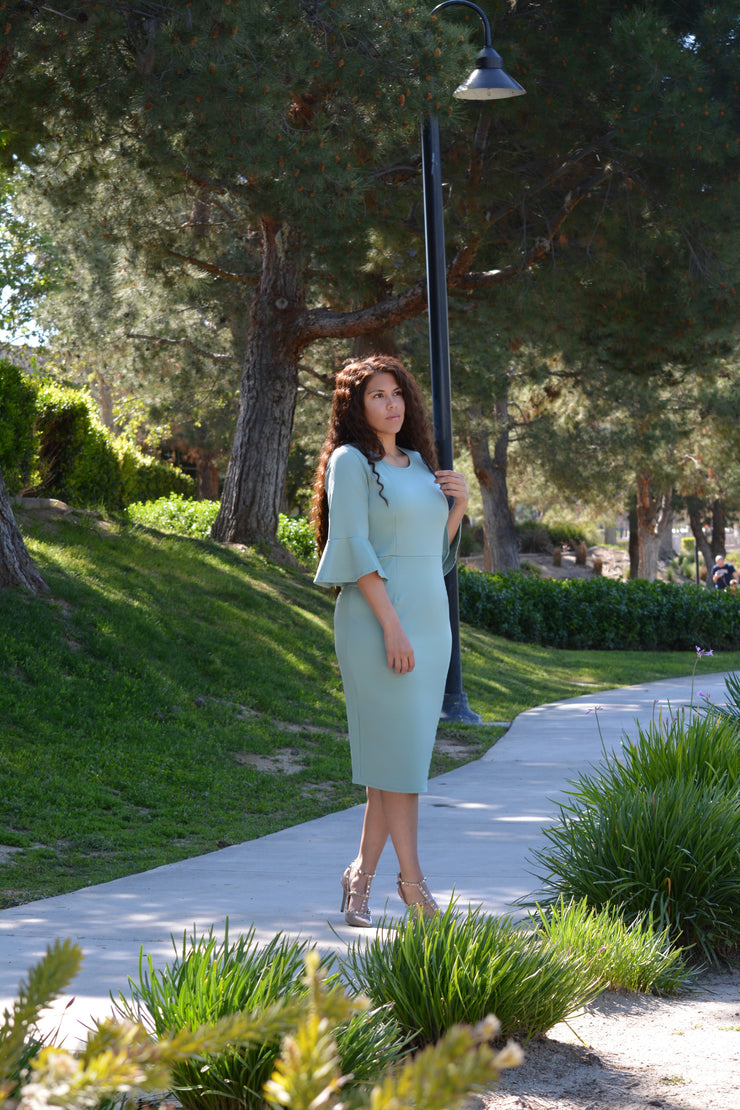 Lucca  Sage Bellsleeve Dress