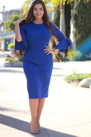 Lucca Royal Blue Bellsleeve Dress